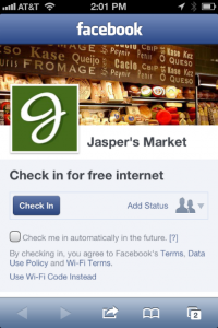 Facebook check-in for free Internet Access